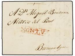 URUGUAY. 1804 (28 Noviembre). MONTEVIDEO A BUENOS AIRES. Marca MONT.Vº En Rojo. - Sellos