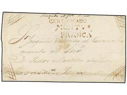 URUGUAY. (1820 CA.). MONTEVIDEO A PAYSANDU. Envuelta De Carta Certificada, Marcas CERTIFICADO/MONTVº/FRANCA Y Manuscrito - Sellos