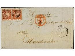"""ESPAÑA. 1855. BILBAO A MONTEVIDEO (Uruguay). 2 Reales Rojo (2) Y Marca PAID/AT/TENERIFE Y Tarifa Manuscrita""""1sh"""". Circul - Sellos"""