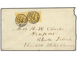 URUGUAY. 1867. MONTEVIDEO A U.S.A. 15 Ctvos. Amarillo (2). Mat. CORREO MONTEVIDEO. Sobre Con Defectos A La Derecha Por M - Sellos