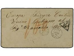 URUGUAY. 1868 (Jan 15). Stampless Cover With MONTEVIDEO Despatch Cds, Used To GIUBIASCO (Switzerland) With Fine Strike O - Sellos