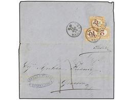 URUGUAY. 1872. MONTEVIDEO A GÉNOVA. Impreso Circulado Por Buque Francés. A La Llegada Tasada Con Sellos Italianos De 2 C - Sellos