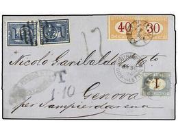URUGUAY. 1876. MONTEVIDEO A GÉNOVA. Circulada Con Sellos De Uruguay De 5 Cts. Azul (2) Tasada A La Llegada Con Sellos It - Sellos