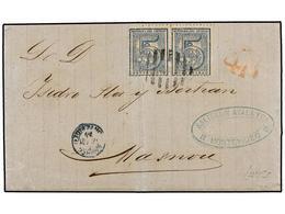 URUGUAY. 1874. MONTEVIDEO A MASNOU. 5 Cts. Azul (2) Mat. ÓVALO DE PUNTOS, Tasada A La Llegada Con 4 Reales. Escasa Desti - Sellos