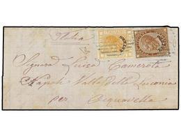 URUGUAY. 1879. MONTEVIDEO A ACQUAVELLA (Nápoles, Italia). Circulada Con Sellos Italianos De 20 Cents. Naranja Y 30 Cts.  - Sellos