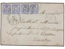 VENEZUELA. 1877. LA GUAYRA A FRANCIA. Circulada Con Una Tira De Cuatro Del Sello Francés De 25 Cts. Ultramar (Yv. 78), M - Sellos
