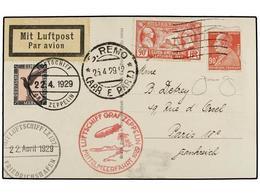 ZEPPELIN. 1929 (Abril). Tarjeta Postal Del Zeppelin LZ 127 Desde FRANCIA Con Dos Sellos De 90 Cts. (uno Defecto) Embarca - Sellos