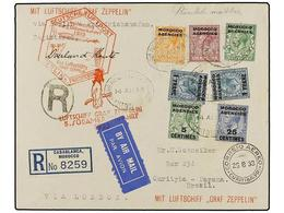 ZEPPELIN. 1933. MOROCCO. CASABLANCA To CURITYBA (Brazil). 5 Cts., 25 Cts. And 1 Fr. French Stamps And 1/2 D., 2 D. And 6 - Sellos
