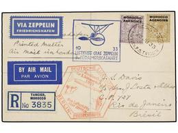 ZEPPELIN. 1933. MOROCCO. TANGIER To RIO DE JANEIRO. Envelope Franked With 3 D. Lilac And 1 Sh. Stamp, Sent By GRAF ZEPPE - Sellos