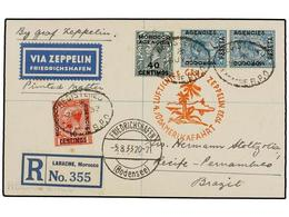 ZEPPELIN. 1933. MOROCCO. LARACHE To RECIFE (Brazil). Envelope Franked With 10 Cts., 40 Cts. And 1 Pta. (2) Stamps, Sent  - Sellos