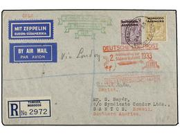 ZEPPELIN. 1933. MOROCCO. TANGIER To SANTOS (Brazil). Envelope Franked With 3 D. And 1 Sh. Stamps, Sent By GRAF ZEPPELIN  - Sellos
