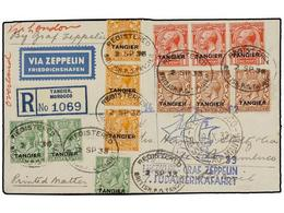 ZEPPELIN. 1933. MOROCCO. TANGIER To PERNAMBUCO (Brazil). Envelope Franked With 1/2 D. (3), 1 D. (3), 1 1/2 D. (3) And 2  - Sellos