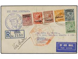ZEPPELIN. 1933. MOROCCO. TANGIER To PERNAMBUCO (Brazil). Envelope Franked With 1/2, 1, 1 1/2, 2, 4 And 6 D. Stamps Sent  - Sellos