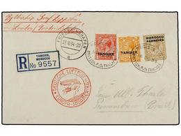 ZEPPELIN. 1934. MOROCCO. TANGIER To PERNAMBUCO (Brazil). Envelope Franked With 1 D., 2 D. And 1 Sh. Tangier Stamps Sent  - Sellos