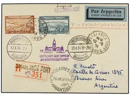 ZEPPELIN. 1933. MOROCCO. CASABLANCA To BUENOS AIRES. Postcard Franked With 80 Cts. And 10 Fr. Sent By GRAF ZEPPELIN Via  - Sellos
