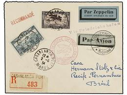 ZEPPELIN. 1934. FRENCH MOROCCO. CASABLANCA To RECIFE (Brasil). Envelope Franked With 1 Fr., 2 Fr. And 10 Fr. Stamp, Sent - Sellos