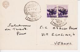 Trieste A, Cartolina Postale Con Coppia Sassone 2 (05276) - Storia Postale