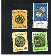 MAROCCO (MOROCCO)  -  SG 439 -   1976  COINS (4 STAMPS; 1 WITH LABEL)  - USED ° - Marocco (1956-...)