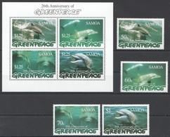 U1011 SAMOA MARINE LIFE 26TH ANNIVERSARY OF GREENPEACE DOLPHINS 1KB+1SET MNH - Dauphins