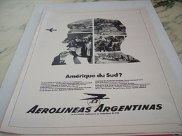ANCIENNE PUBLICITE LIGNE AERIENNE AEROLINEAS ARGENTINAS 1968 - Advertisements