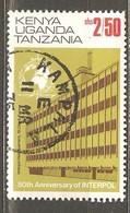 Kenia, Uganda, Tanzania: Used Stamp, 50-th Anniverary Of Interpol, 1973, Mi#262-II - Kenya, Uganda & Tanganyika