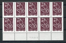 RC 13117 FRANCE N° 3759 - 1,98€ MARIANNE DE LAMOUCHE PIQUAGE DÉCALÉ BLOC DE 10 NEUF ** TB - France