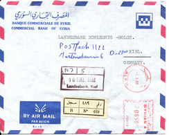 Syria Registered Air Mail Bank Cover With Meter Cancel Sent To Germany 7-3-1992 (Commercial Bank Of Syria) - Syria