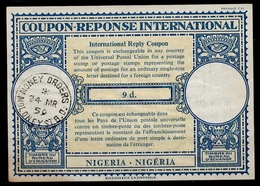 NIGERIA Lo16n 9d.International Reply Coupon Reponse Antwortschein IAS IRC O MOLONY ST. 24.3.59 - Nigeria (1961-...)