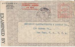 Peru Censored Cover With Meter Cancel 26-8-1942 Sent To USA - Peru