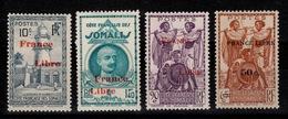 Cote Des Somalis - France Libre YV 208 / 222 / 218 / 233  N* Cote 5,10 Euros - Côte Française Des Somalis (1894-1967)