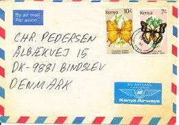 Kenya Air Mail Cover Sent To Denmark 19-4-1991 Topic Stamps BUTTERFLIES - Kenya (1963-...)