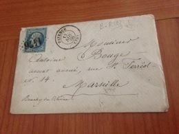 FAYENCE  ( Var 83) GC 1476 - BOITE RURALE B  ( VALLON DU CHAUTARD ) -Lettre écrite 1866   (port à Ma Charge ) - Postmark Collection (Covers)