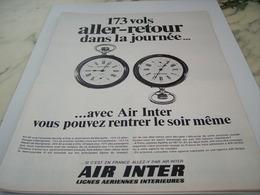 ANCIENNE PUBLICITE ALLER RETOUR AVEC AIR INTER  1968 - Advertisements