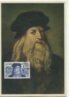 LEONARD DE VINCI (Yvert N° 929) Carte Maximum 1er Jour. Oblitération Illustrée Amboise / 1952 - Cartes-Maximum