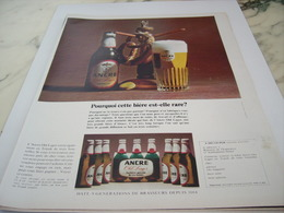 ANCIENNE PUBLICITE RARE C EST UNE BIERE ANCRE 1968 - Alcools