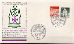 Germany Famous Buildings Stamps On FDC From 1967 - Architecture