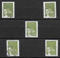 France 2003  Oblitéré  N° 3571   0,70 €   Vert-olive    ( 5 Exemplaires ) - 1997-04 Marianne Of July 14th