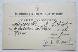 Rare Carte D'Associée - Association Des Jeunes Filles Royalistes - Paris - Timbres 1935-36-37-38 - Signature Y De Kerret - Documents Historiques