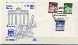 Germany The Brandenburg Gate Stamps On FDC From 1966 - Architecture