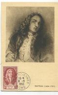 WATTEAU (Yvert N° 855) Carte Maximum / PremierJour. / Oblitération VALENCIENNES / 1950 - Cartes-Maximum
