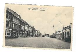 Mouscron Place De La Gare. Moescroen Statieplaats. ( Tram à Vapeur ,dans Le Fond ). - Mouscron - Moeskroen