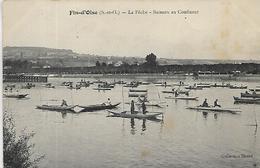 78, Yvelines, FIN D'OISE, La Peche - Bateaux Au Confluent, Scan Recto Verso - Otros Municipios