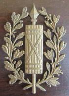 Plaque En Laiton Embouti Au Faisceau De Licteur Et Couronne De Chêne Et Laurier - 19e Siècle - Cuivres