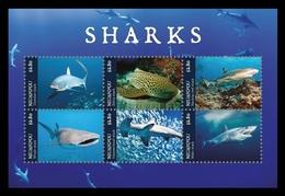 Tonga (Niuafo'ou) 2019 Mih. 722/27 (Bl.85) Fauna. Sharks MNH ** - Tonga (1970-...)