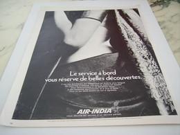 ANCIENNE PUBLICITE SERVICE A BORD LIGNE AERIENNE  AIR INDIA 1968 - Advertisements