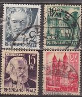 1947 - ETAT RHENO PALATIN - Occupation Française - Rheinland-Pfalz - Beethoven, Karl Marx - N° 1-4-5-8 - Zone Française