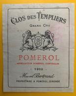 11481 - Clos Des Templiers 1962 Pomerol - Bordeaux