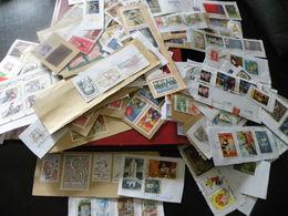 Carton De 2,5 Kg De Timbres Sur Plaquettes Découpes De Courriers Entiers Postaux Et Lettres Avec Classeur - Timbres