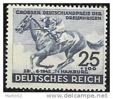 Deutsches Reich 1942: GROSSER DEUTSCHLANDPREIS DER DREIJÄHRIGEN HAMBURG  Mi.814 ** MNH (Michel-Junior 22.00 Euro) - Reitsport