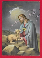 CARTOLINA VG ITALIA - BUONA PASQUA - Gesù Pastore - P. Ventura - CECAMI 7348 - 10 X 15 - 1961 CRESPANO DEL GRAPPA - Pasqua